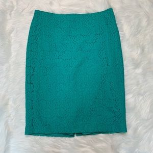 Lace pencil skirt teal by Ann Taylor